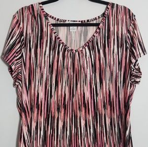 Lovely Liz Claiborne pink peach pattern top, 1X